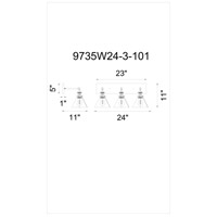 CWI Lighting 9735W24-3-101 Eustis 3 Light 24 inch Black and Gold Brass Wall Sconce Wall Light