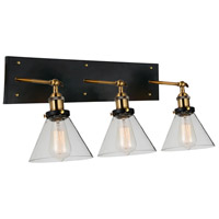 Eustis 3 Light 24 inch Black and Gold Brass Wall Sconce Wall Light