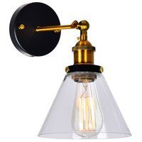 CWI Lighting 9735W7-1-101 Eustis 1 Light 11 inch Black and Gold Brass Wall Sconce Wall Light