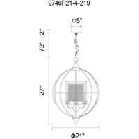 CWI Lighting 9746P21-4-219 Alistaire 4 Light 21 inch Reddish Black Chandelier Ceiling Light