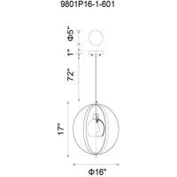 CWI Lighting 9801P16-1-601 Dahlia 1 Light 16 inch Chrome Chandelier Ceiling Light