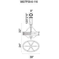 CWI Lighting 9807P39-6-116 Nicole 4 Light 39 inch Brushed Chocolate Chandelier Ceiling Light