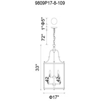 CWI Lighting 9809P17-8-109 Desire 8 Light 17 inch Oil Rubbed Bronze Chandelier Ceiling Light