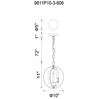 CWI Lighting 9811P10-3-613 Delroy 3 Light 10 inch Polished Nickel Up Mini Pendant Ceiling Light