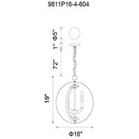 CWI Lighting 9811P16-4-604 Delroy 4 Light 16 inch Antique Brass Chandelier Ceiling Light