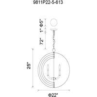 CWI Lighting 9811P22-5-604 Delroy 5 Light 22 inch Antique Brass Up Chandelier Ceiling Light