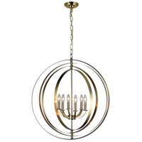 CWI Lighting 9811P28-6-604 Delroy 6 Light 28 inch Antique Brass Chandelier Ceiling Light