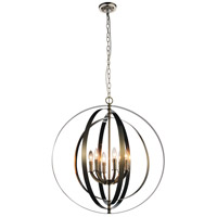 CWI Lighting 9811P28-6-606 Delroy 6 Light 28 inch Satin Nickel Chandelier Ceiling Light
