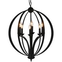 CWI Lighting 9825P24-6-101 Drift 6 Light 24 inch Black Chandelier Ceiling Light
