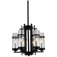 CWI Lighting 9827P18-6-101 Sierra 6 Light 18 inch Black Chandelier Ceiling Light