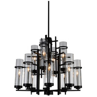 CWI Lighting 9827P30-12-101-A Sierra 12 Light 30 inch Black Chandelier Ceiling Light