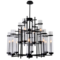 CWI Lighting 9827P38-12-101 Sierra 12 Light 38 inch Black Chandelier Ceiling Light