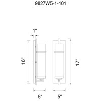 CWI Lighting 9827W5-1-101 Sierra 1 Light 5 inch Black Wall Sconce Wall Light