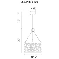 CWI Lighting 9832P15-3-106 Alexandra 3 Light 15 inch Rubbed Silver Chandelier Ceiling Light