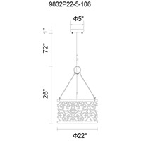 CWI Lighting 9832P22-6-106 Alexandra 5 Light 22 inch Rubbed Silver Chandelier Ceiling Light
