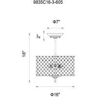 CWI Lighting 9835C16-3-605 Gloria 3 Light 16 inch French Gold Flush Mount Ceiling Light