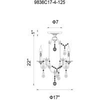 CWI Lighting 9836C17-4-125 Electra 4 Light 17 inch Oxidized Bronze Flush Mount Ceiling Light
