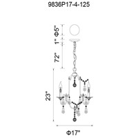 CWI Lighting 9836P17-4-125 Electra 4 Light 17 inch Oxidized Bronze Chandelier Ceiling Light