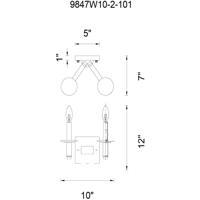 CWI Lighting 9847W10-2-101 Scarlet 2 Light 10 inch Black Wall Sconce Wall Light