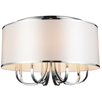 CWI Lighting 9848C24-6-601-(WHITE) Orchid 6 Light 24 inch Chrome Flush Mount Ceiling Light