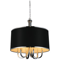 CWI Lighting 9848P24-6-601-(BLACK) Orchid 6 Light 24 inch Chrome Chandelier Ceiling Light