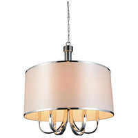 CWI Lighting 9848P24-6-601-(WHITE) Orchid 6 Light 24 inch Chrome Chandelier Ceiling Light