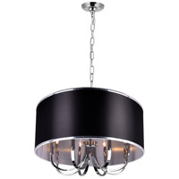 CWI Lighting 9848P30-8-601-(BLACK) Orchid 8 Light 30 inch Chrome Chandelier Ceiling Light
