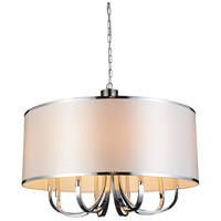 CWI Lighting 9848P30-8-601-(WHITE) Orchid 1 Light 30 inch Chrome Chandelier Ceiling Light