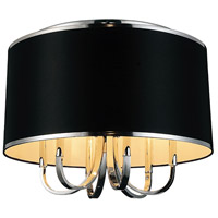 CWI Lighting 9848C24-6-601-(BLACK) Orchid 6 Light 24 inch Chrome Flush Mount Ceiling Light