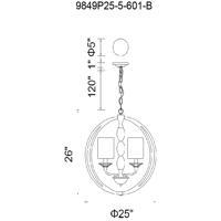 CWI Lighting 9849P25-5-601-B Pheonix 5 Light 25 inch Chrome Chandelier Ceiling Light