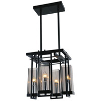 CWI Lighting 9858P14-4-S-101 Vanna 4 Light 14 inch Black Chandelier Ceiling Light
