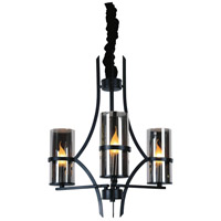 CWI Lighting 9858P22-3-101 Vanna 3 Light 22 inch Black Chandelier Ceiling Light