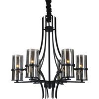CWI Lighting 9858P27-6-101 Vanna 6 Light 27 inch Black Chandelier Ceiling Light