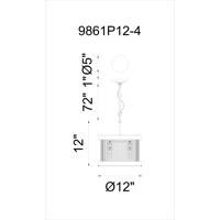 CWI Lighting 9861P12-4-101 Mira 4 Light 12 inch Black Chandelier Ceiling Light