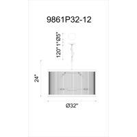 CWI Lighting 9861P32-12-101 Mira 12 Light 32 inch Black Chandelier Ceiling Light