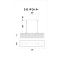 CWI Lighting 9861P50-14-101 Mira 14 Light 50 inch Black Chandelier Ceiling Light