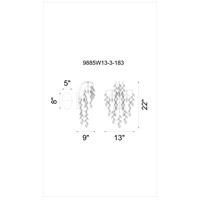 CWI Lighting 9885W13-3-183 Napan 3 Light 9 inch Silver Mist Wall Light