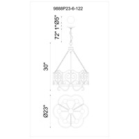 CWI Lighting 9888P23-6-122 Branch 6 Light 23 inch Autumn Bronze Chandelier Ceiling Light