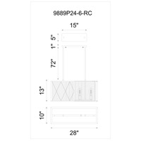 CWI Lighting 9889P24-6-101 Tapedia 6 Light 24 inch Black Chandelier Ceiling Light