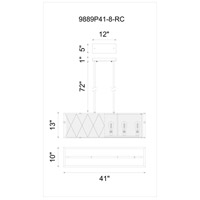 CWI Lighting 9889P41-6-RC-101 Tapedia 6 Light 41 inch Black Chandelier Ceiling Light