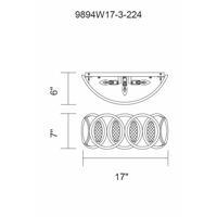 CWI Lighting 9894W17-3-224 Attis 3 Light 17 inch Gun Metal Wall Sconce Wall Light