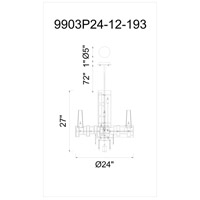CWI Lighting 9903P24-12-193 Quida 12 Light 24 inch Champagne Chandelier Ceiling Light