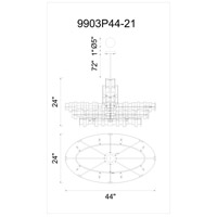 Quida 21 Light 44 inch Champagne Chandelier Ceiling Light
