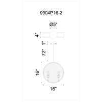 CWI Lighting 9904P16-2-101 Tigris 2 Light 16 inch Black Chandelier Ceiling Light
