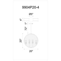 CWI Lighting 9904P20-4-101 Tigris 4 Light 20 inch Black Chandelier Ceiling Light