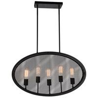CWI Lighting 9904P30-5-101 Tigris 5 Light 30 inch Black Up Pendant Ceiling Light