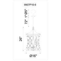 CWI Lighting 9907P16-6-206 Tieda 6 Light 16 inch Speckled Bronze Chandelier Ceiling Light
