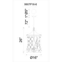 CWI Lighting 9907P16-6-206 Tieda 6 Light 16 inch Speckled Bronze Chandelier Ceiling Light