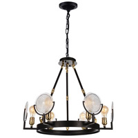 CWI Lighting 9909P24-6-192 Bhima 6 Light 24 inch Brown Chandelier Ceiling Light