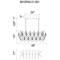 Aleka 21 Light 49 inch Chrome Chandelier Ceiling Light